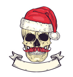 Color handdrawn angry skull of santa claus vector