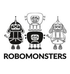Contour and Silhouette Robots Set vector