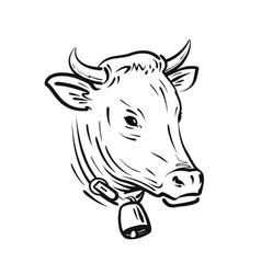 Cow with bell sketch farm animal vector
