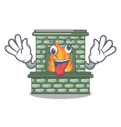 crazy luxury fireplace isolated on the mascot vector image