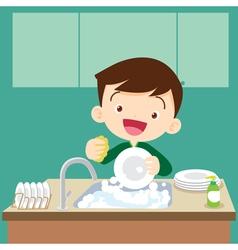 cute boy Dish washing vector image