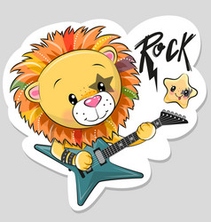 Cute cartoon rock lion with a guitar on a white vector