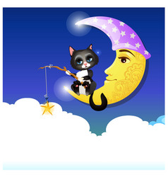 Cute fancy poster with animated cat catching with vector