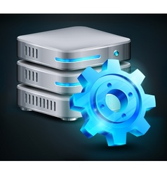 Database and blue gear vector image