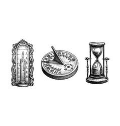 Different types antique clocks vector