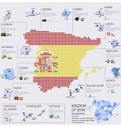 Dot And Flag Map Of Spain Infographic Design vector image