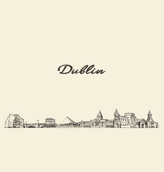 dublin skyline ireland city drawn sketch vector image