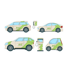 electric cars various cartoon eco cars isolate vector image