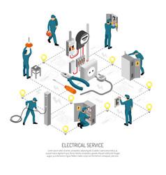 Electrical engineering isometric flowchart vector