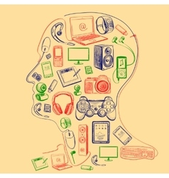 Electronic gadget colors icons in man head vector image