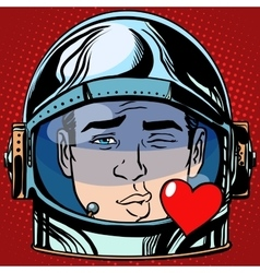 Emoticon kiss love emoji face man astronaut retro vector