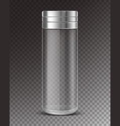 Empty glass salt shaker on transparent background vector