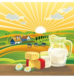 Farming landscape with dairy products vector image