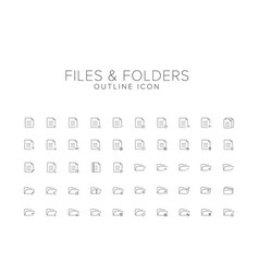 Files and folders line icon set vector