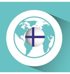 finland flag pin map design vector image