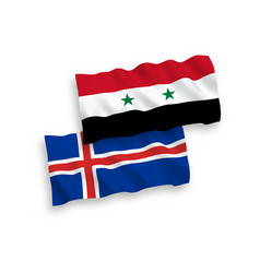 Flags iceland and syria on a white background vector