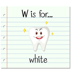 Flashcard letter W is for white vector