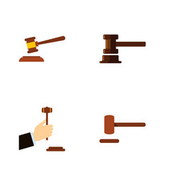 flat icon hammer set of defense hammer law and vector image