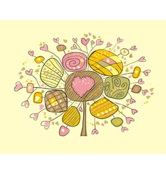 Fluffy love tree with hearts vector
