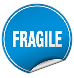 Fragile round blue sticker isolated on white vector