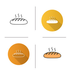 fresh bread loaf icon vector image