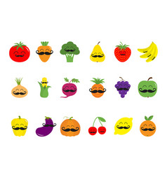 fruit berry vegetable mustache face icon set pear vector image