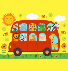 Funny london bus with animals vector