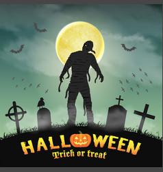 halloween spooky mummy in a night graveyard vector image