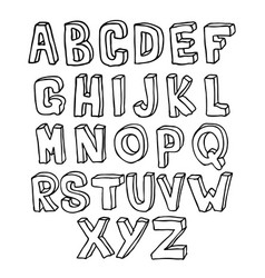 hand drawn 3d alphabet vector image