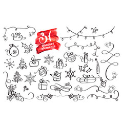 hand drawn christmas elements doodles season vector image