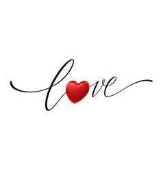 happy valentines day lettering love with realistic vector image