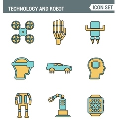 Icons line set premium quality of future vector