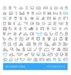 Icons on furniture kitchen cleaning vector
