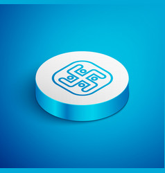 Isometric line jainism icon isolated on blue vector