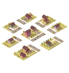isometric low poly suburban buildings vector image