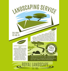 Landscaping service banner with green tree plant vector
