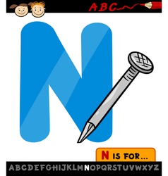 Letter n with nail cartoon vector