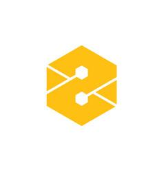 letter z hexagonal geometric logo vector image