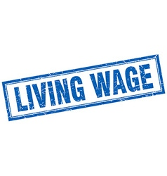 Living wage blue grunge square stamp on white vector