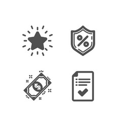 Loan percent rank star and payment icons vector