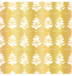 luxury gold foil festive christmas trees candle vector image