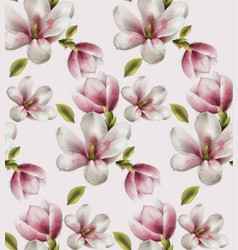 magnolia pattern watercolor flowers decor vector image