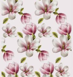 Magnolia pattern watercolor flowers decor vector