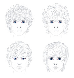 Male Curly Hairstyles vector image