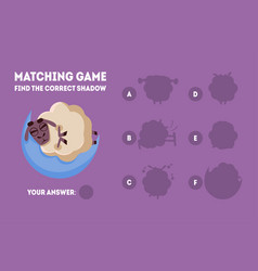 matching game with cute sleeping sheep find the vector image