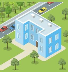 modern condo complex near road banner vector image