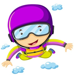 Person doing sky diving in the sky vector