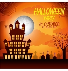 Poster halloween party with house scary design vector