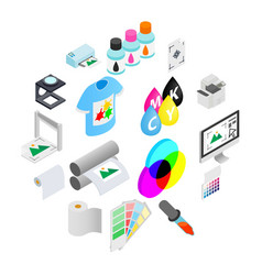 printing icons set isometric 3d style vector image