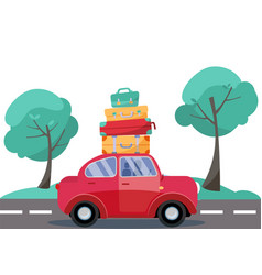 red car with baggage on roof summer family vector image